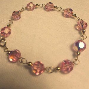 Gold filled Bracelet pink gemstones